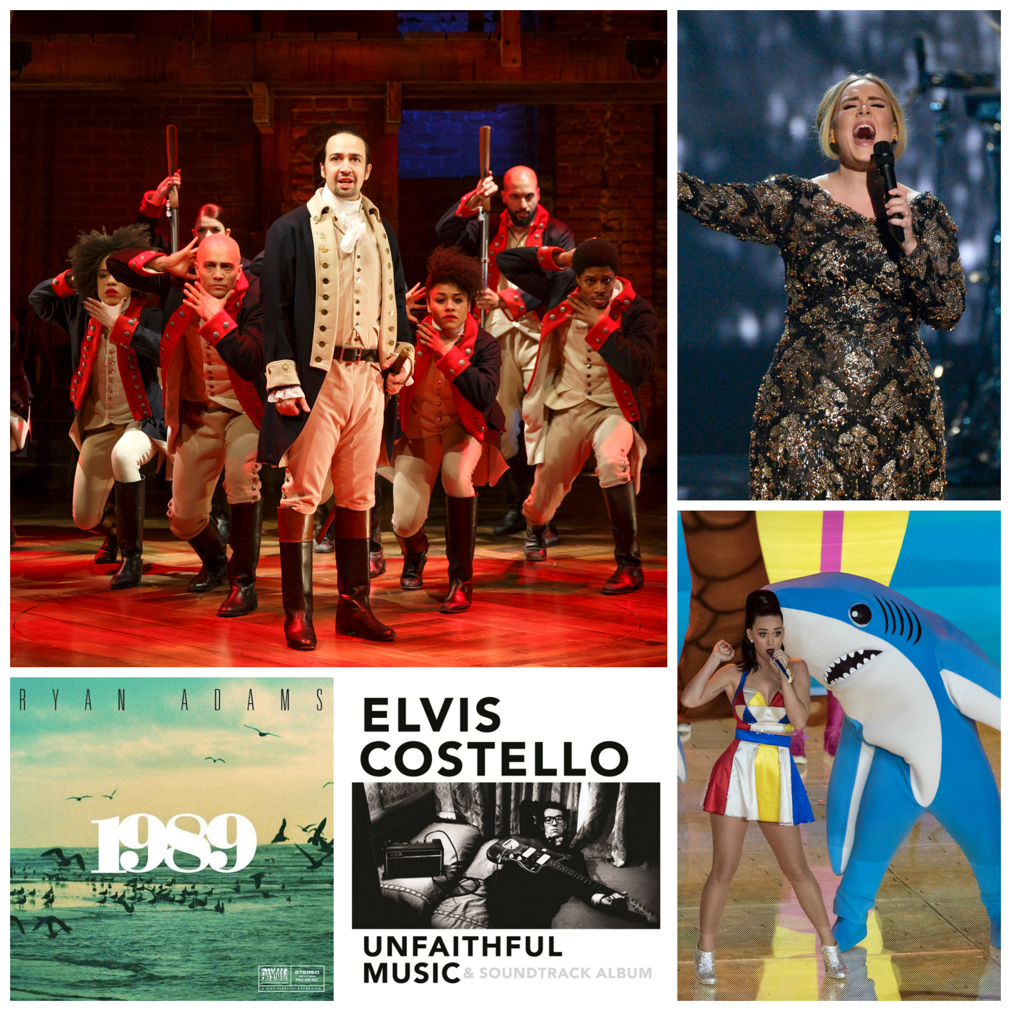 "Notable music highlights from 2015 included the hip-hop ""Hamilton;"" Adele's omnipresent ""Hello;"" Katy Perry's sharks; Elvis Costello's book soundtrack (not to mention the book); and Ryan Adams morphing into Taylor Swift. Photos: Joan Marcus/The Public Theater; Virginia Sherwood/NBC; Wikimedia Commons; Courtesy Photos."