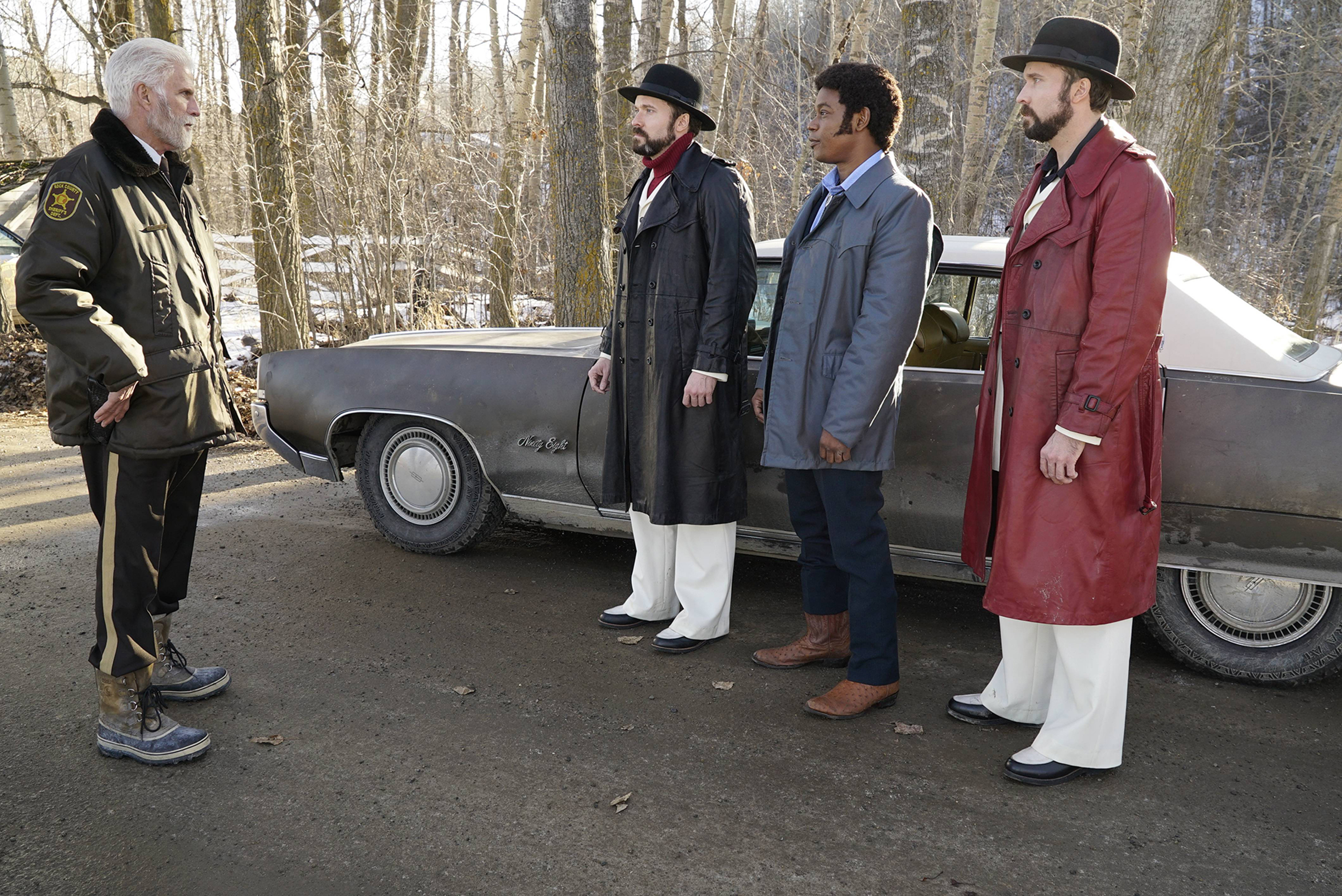 FARGO -- Pictured: (l-r) Ted Danson as Hank Larsson, Todd Mann as Wayne Kitchen, Bokeem Woodbine as Mike Miligan, Brad Mann as Gale Kitchen. CR: Chris Large/FX