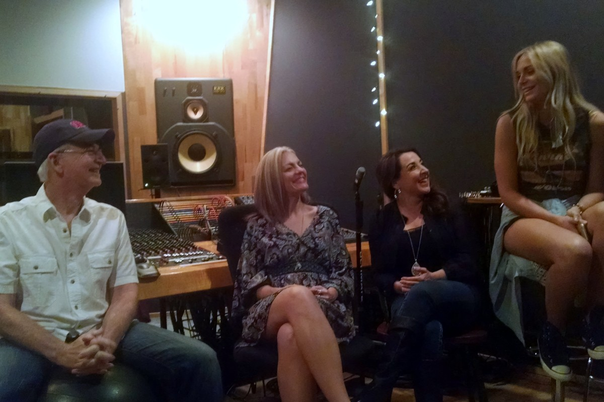 Carl Jackson, the producer of Orthophonic Joy, with The Shotgun Rubies: (L-R) DelNora Reed, Val Storey, and Dani Flowers