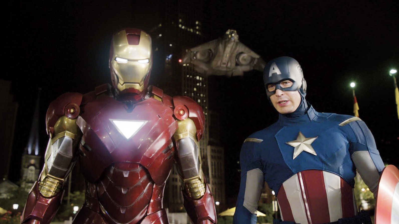 Captain America and Iron Man stand side-by-side after battling Loki in Avengers.