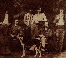 "Crosby, Stills, Nash, and Young with group members Dallas Taylor and Greg Reeves, from the cover of ""Deja Vu"" (Atlantic)"