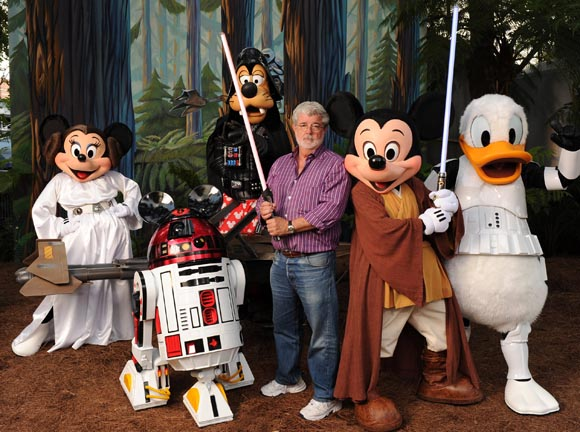 George Lucas and Mickey in happier times.