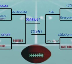 A really muddled fictitious college football bracket