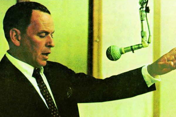 "Frank Sinatra at work in the studio, from the cover of the reissued ""Strangers in the Night"" (Reprise Records)"